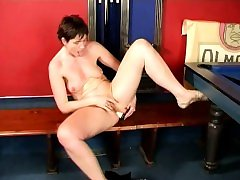 Short haired milf Marketa drops her clothes and fucks her needy holes
