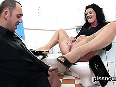 Amazed peach in lingerie is geeting peed on and rode