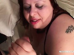POV horny mature BBW blowing large shaft