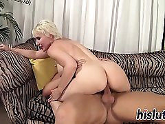 Hot blonde MILF swallows a sticky load