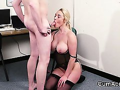 Frisky doll gets jizz load on her face gulping all the jism