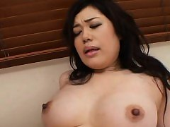 Dude lets this sexy milf strokes his big knob and eats cum