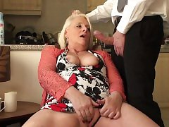 Busty amateur grandma submits to dominator