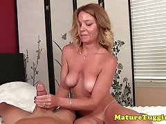 Mature bigtitted amateur jacking cock POV